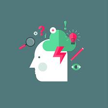 Illustration für Beratung (Kopf mit diversen Symbolen)