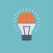 Illustration für Idee (Gehirn & Glühbirne)