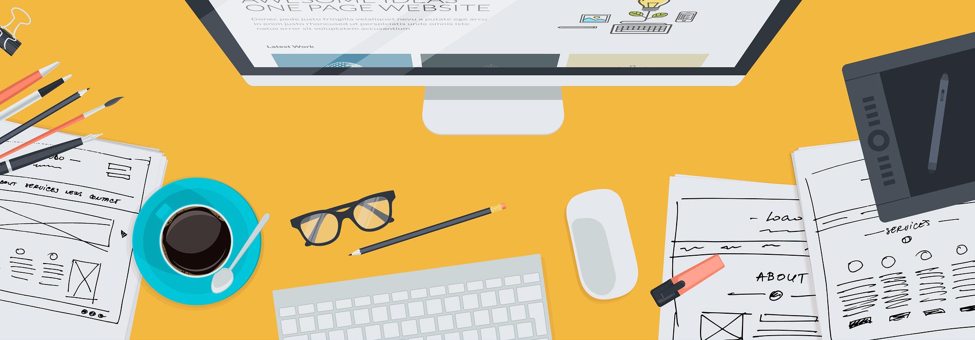 Illustration für den Arbeitsplatz eines Webdesigners