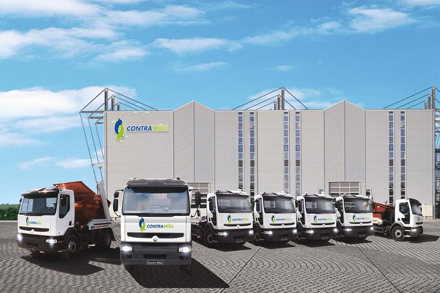 3D-Illustration für Einsatzfahrzeuge auf dem Firmengelände