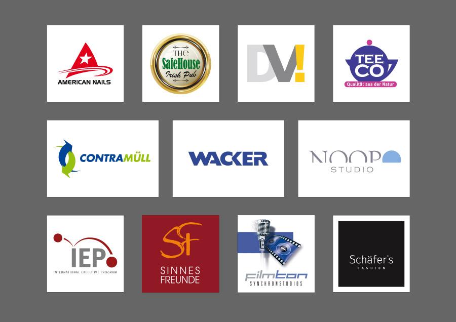 Diverse Logo-Entwürfe für Fashion, Kosmetik, Gastronomie, Event, Entsorgungsunternehmen, Baumaschinenhersteller und Dienstleistungsangebote