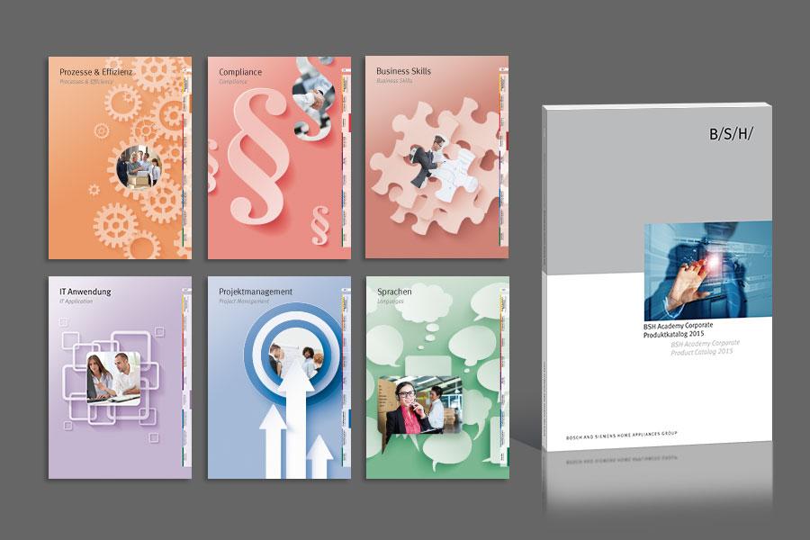 Layout für einen 200-seitigen Katalog zu Web-Trainings und Seminaren